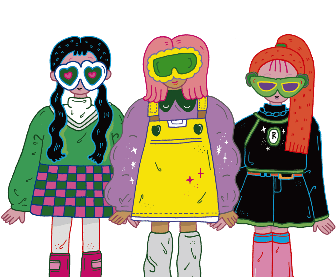Three girls wearing glasses
